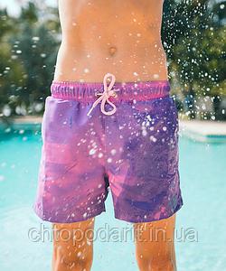 Шорты хамелеон для плавания, пляжные мужские спортивные шорты меняющие цвет малиновый-синий Код 26-0117