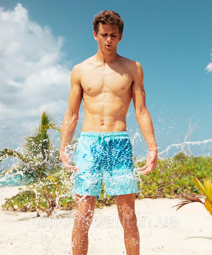 Шорты хамелеон для плавания, пляжные мужские спортивные шорты меняющие цвет Синий-Голубой с рисунком Код 26-0151