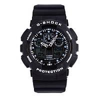 Спортивные мужские наручные часы годинник в стиле Casio G-Shock Черный с белым