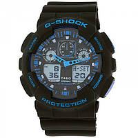 Спортивные мужские наручные часы годинник в стиле Casio G-Shock Черный с синим