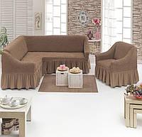 МНОГО ОТТЕНКОВ! Чехол на угловой диван + 1 кресло с оборкой юбочкой рюшами хлопок, какао капуччино Турция
