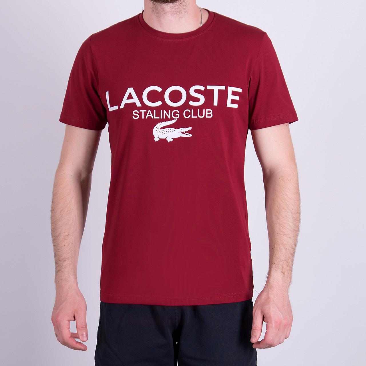 Чоловіча футболка LACOSTE, кольору бордо