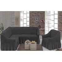 МНОГО ЦВЕТОВ! Чехол на угловой диван + 1 кресло с оборкой юбочкой рюшами хлопок, темно-серый графитовый Турция