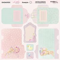Лист двусторонней бумаги 20х20см Конверты Little Bunny от Scrapmir