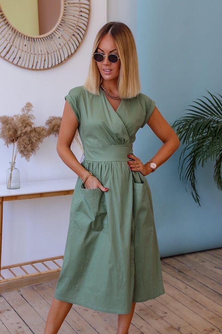 Жіноче літнє плаття коттон міді з кишенями