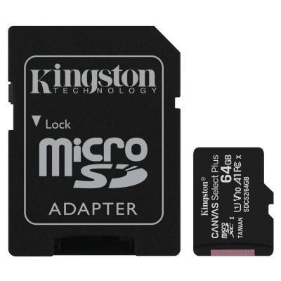 Карта памяти Kingston 64GB micSDXC class 10 A1 Canvas Select Plus (SDCS2/64GB) N1.IN.UA