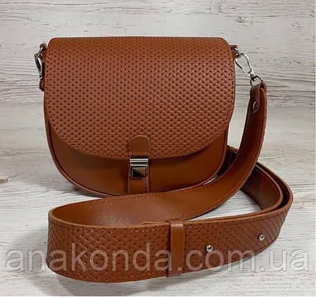 174-р Сумка женская из натуральной кожи рыжая сумочка кросс-боди рыжая кожаная сумка женская через плечо, фото 2
