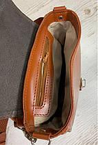 174-р Сумка женская из натуральной кожи рыжая сумочка кросс-боди рыжая кожаная сумка женская через плечо, фото 3