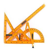 0358 Набор чертежн. для доски 5 предм.: лин.1м+трансп. 50см+2угольн.+циркуль на присоске