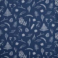 ✁ Отрез хлопковой ткани Ботаника синяя 100х80 см