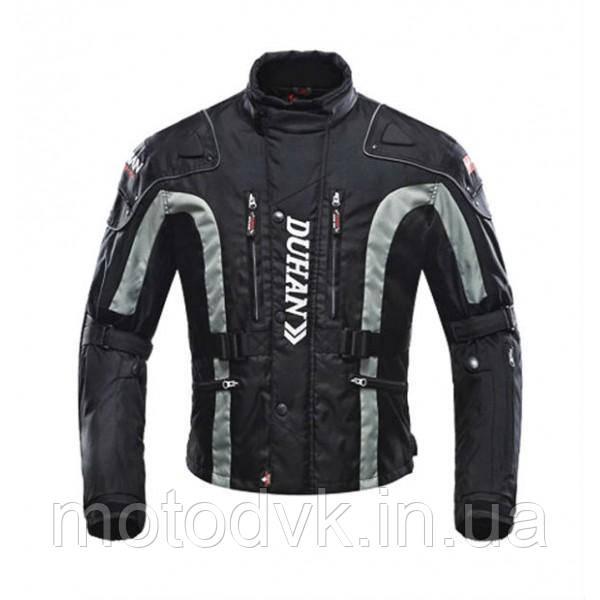 Мотокуртка эндуро текстильная Duhan D-023 черно-серая, размер  2XL