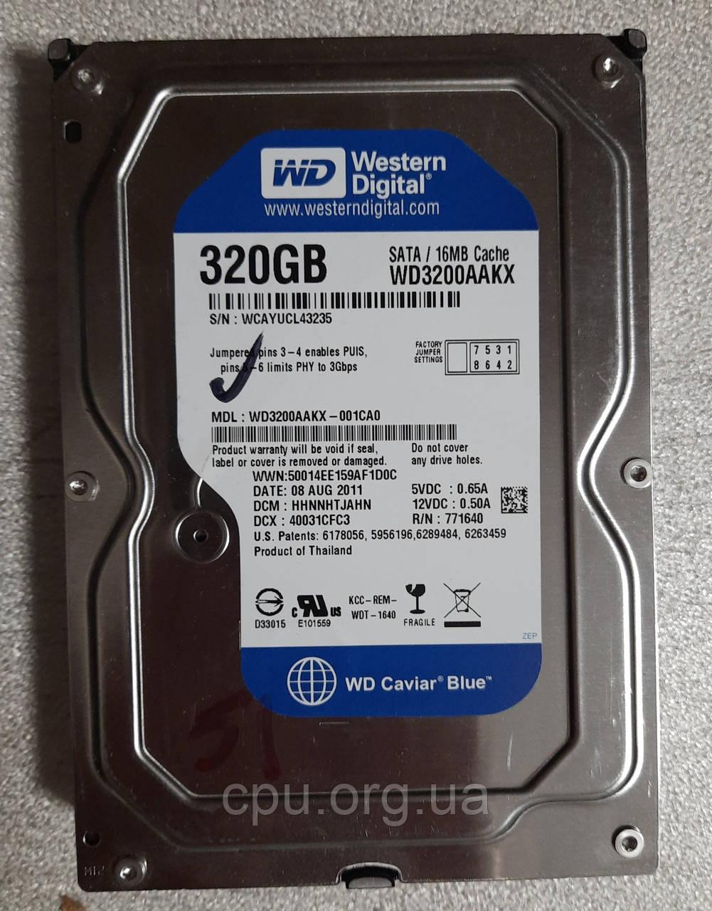 Жесткий диск HDD 3.5 320GB WD WD3200AAKX 16M 7200 об/мин SATA III