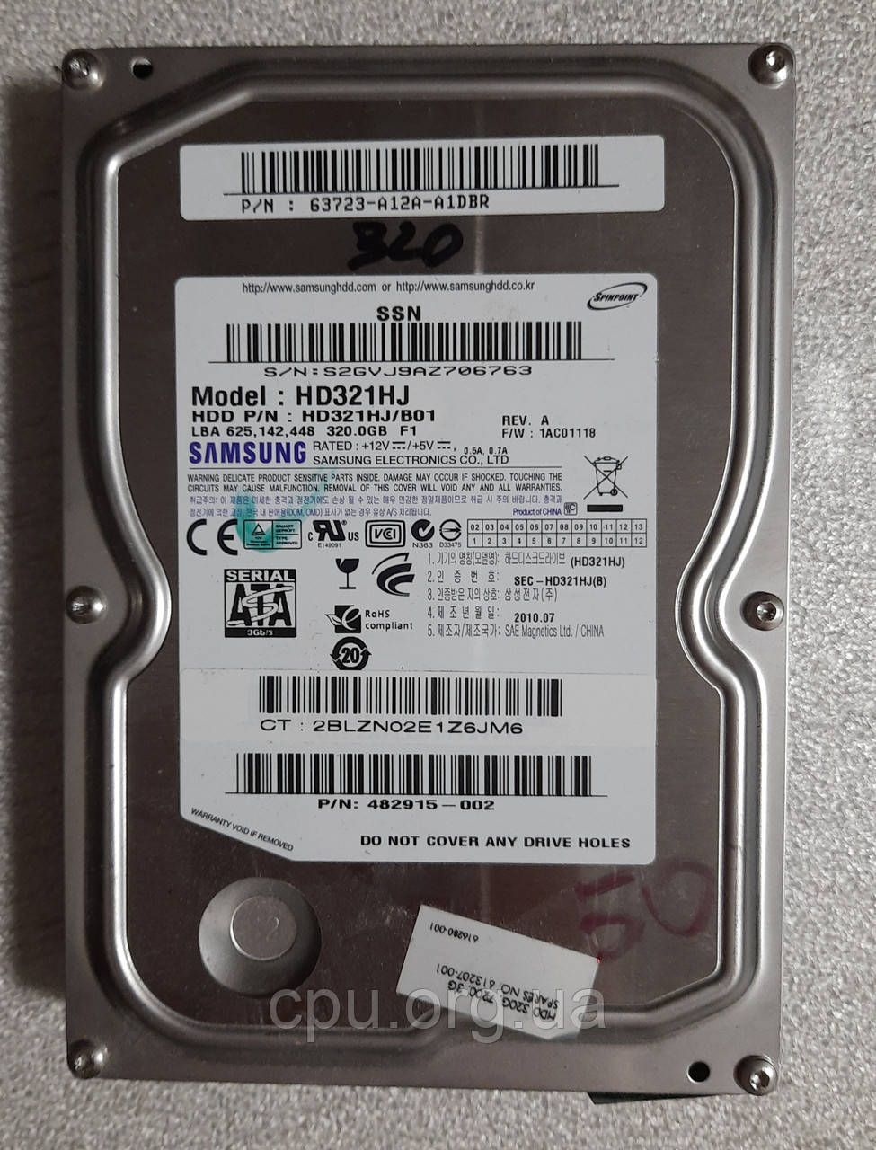 Жесткий диск HDD 3.5 320GB Samsung SpinPoint F1 HD321HJ 8M 7200 об/мин