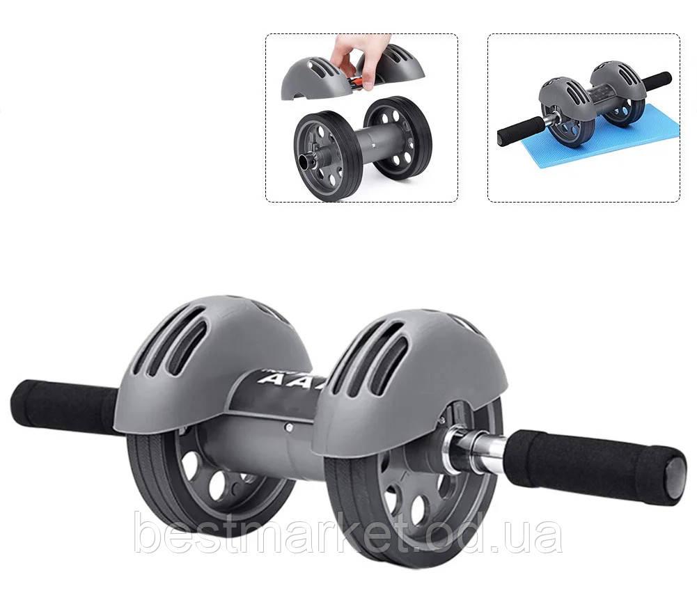 Тренажер Колесо Двойного Действия с Ковриком Power Stretch Roller