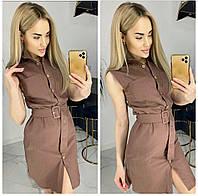 Сукня-сорочка однотонна жіноче ШОКОЛАД (ПОШТУЧНО)