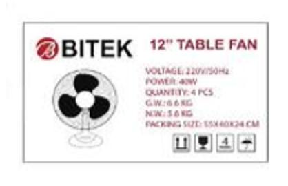 Вентилятор настольный BITEK 30 см 40 Вт 3 пластиковых лопасти BT-1210