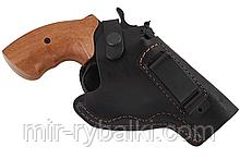 Кобура поясная Револьвер 3 не формованная с клипсой (кожа, чёрная)