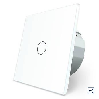 Сенсорный проходной маршевый перекрестный выключатель Livolo белый стекло (VL-C701S-11)