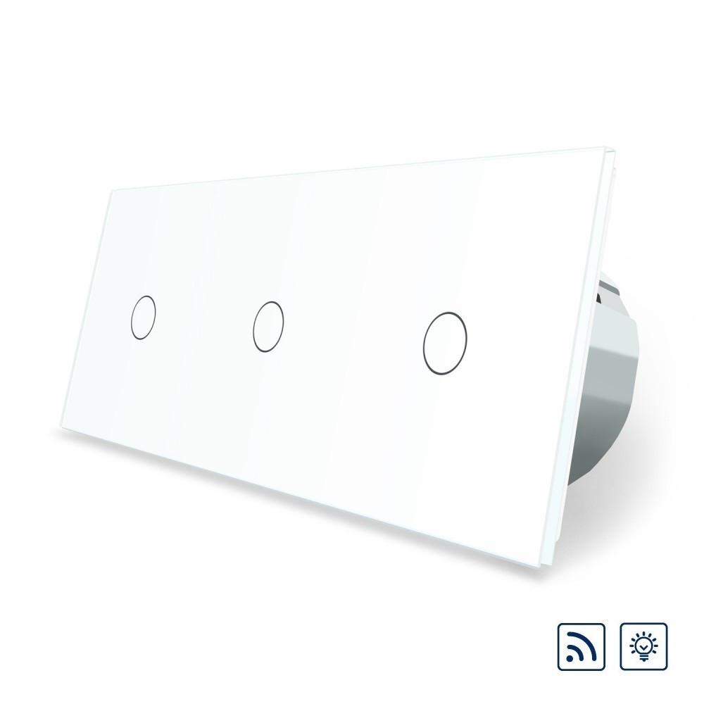 Сенсорный радиоуправляемый диммер Livolo 3 канала (1-1-1) белый стекло (VL-C703DR-11)