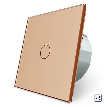 Сенсорный проходной маршевый перекрестный выключатель Livolo золото стекло (VL-C701S-13)