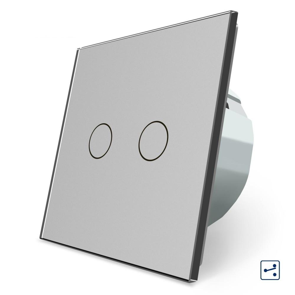 Сенсорный проходной маршевый перекрестный выключатель Livolo на 2 канала серый стекло (VL-C702S-15)
