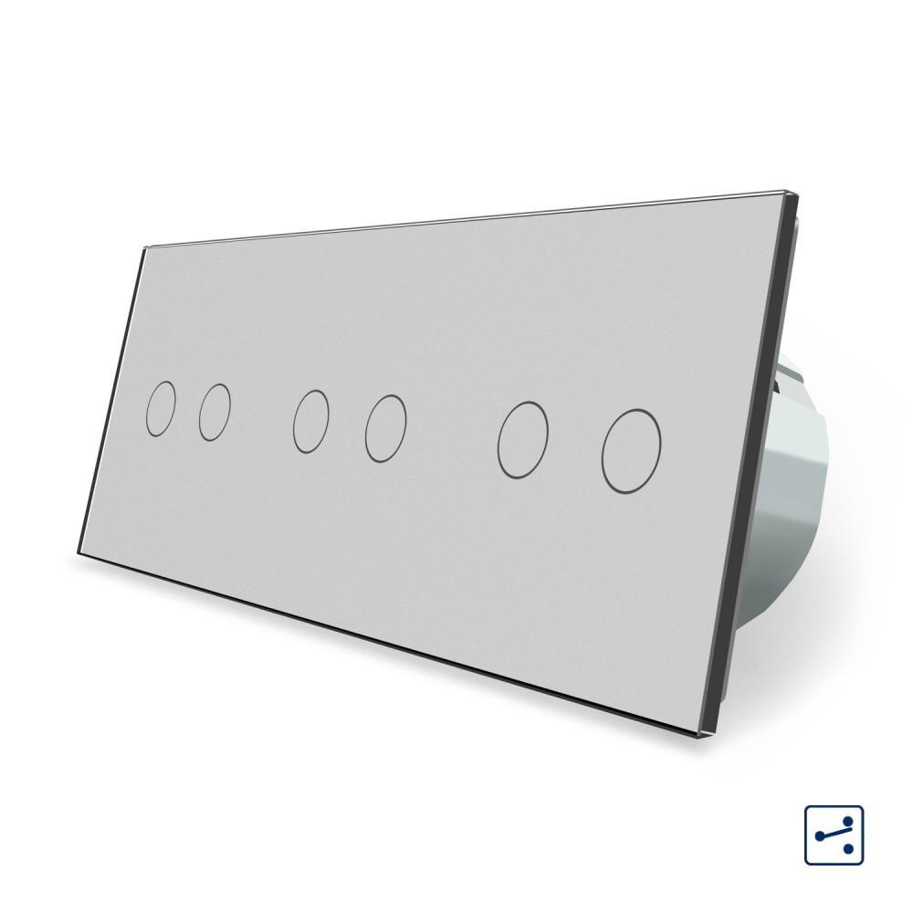 Сенсорный проходной выключатель Livolo 6 каналов (2-2-2) серый стекло (VL-C706S-15)