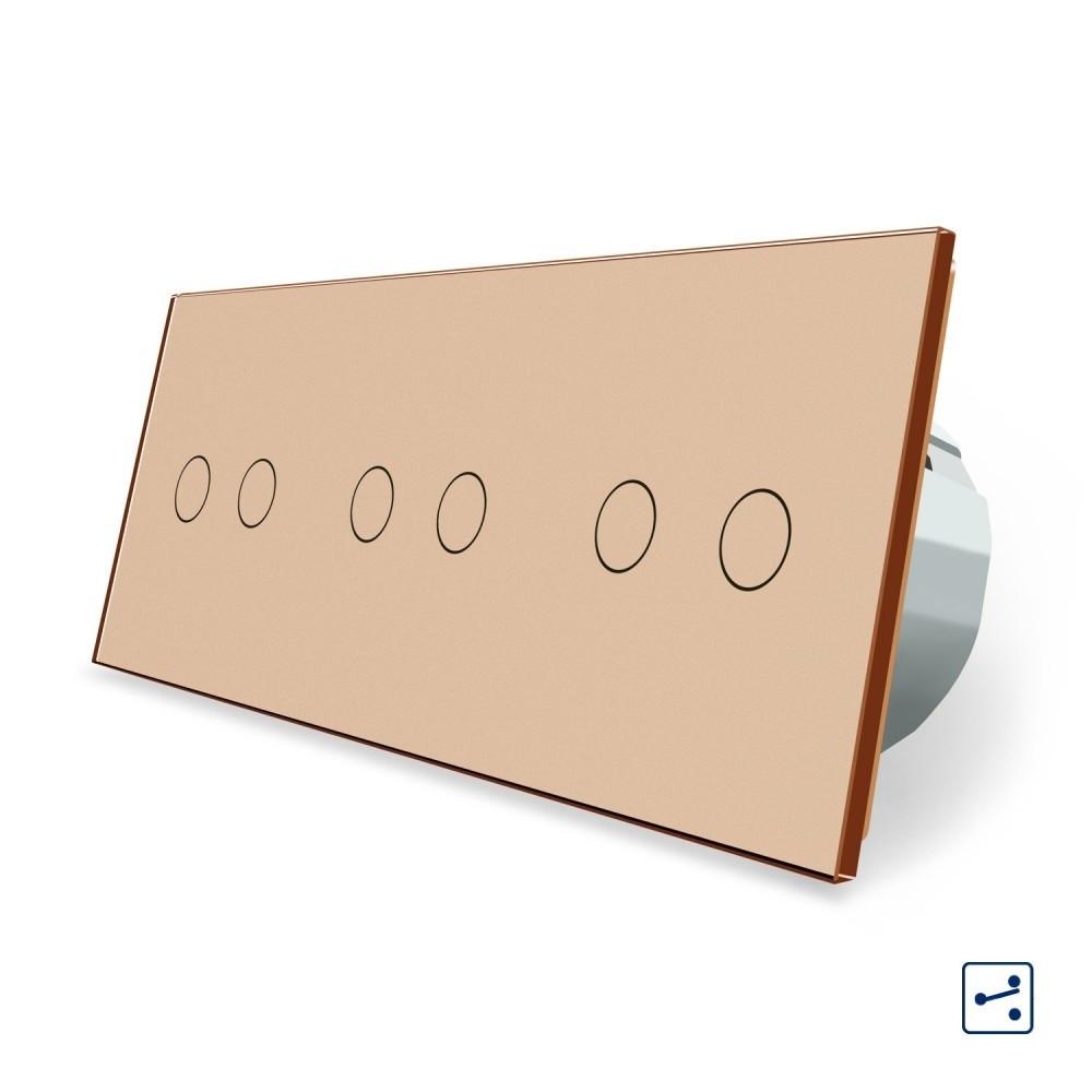 Сенсорный проходной выключатель Livolo 6 каналов (2-2-2) золото стекло (VL-C706S-13)