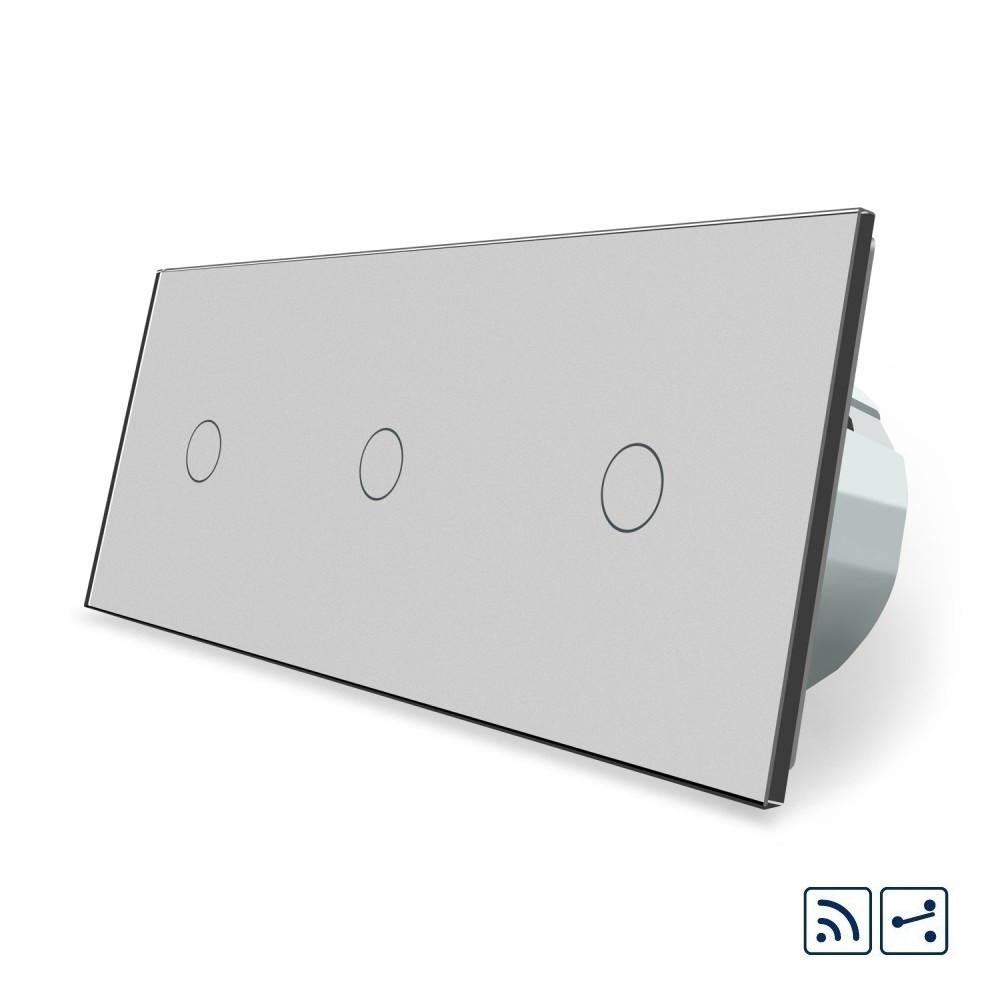 Сенсорный радиоуправляемый проходной выключатель Livolo 3 канала (1-1-1) серый стекло (VL-C703SR-15)