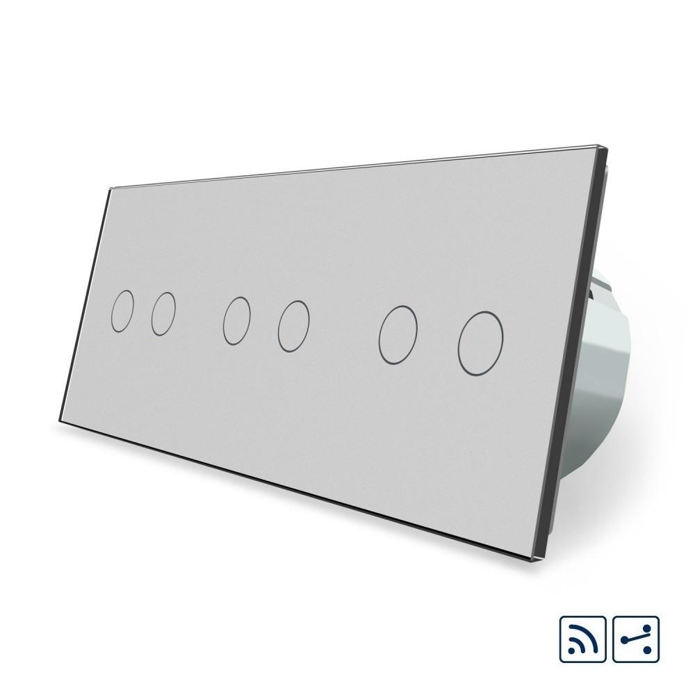 Сенсорный радиоуправляемый проходной выключатель Livolo 6 каналов (2-2-2) серый стекло (VL-C706SR-15)