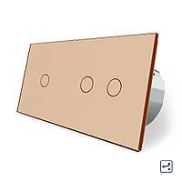Сенсорный проходной выключатель Livolo 3 канала (1-2) золото стекло (VL-C701S/C702S-13), фото 1