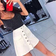 Женская джинсовая юбка, стильная, белая, АР-567