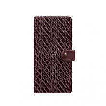 Кожаное женское бордовое портмоне 7.0 Карбон
