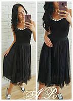 Женская  юбка фатиновая, стильная, черная, АР-021