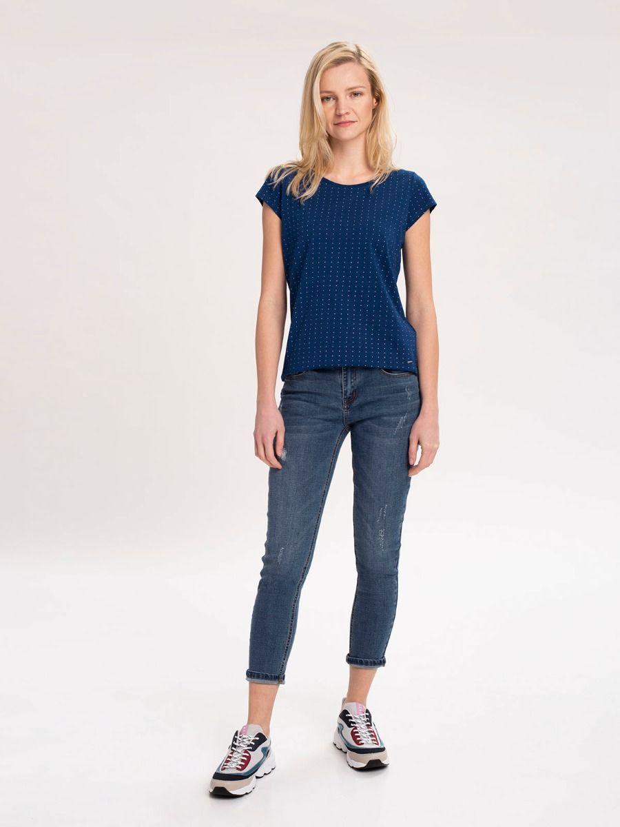 Женские джинсы 7/8 D-MERCY 2 с регулярной талией темно-синего цвета