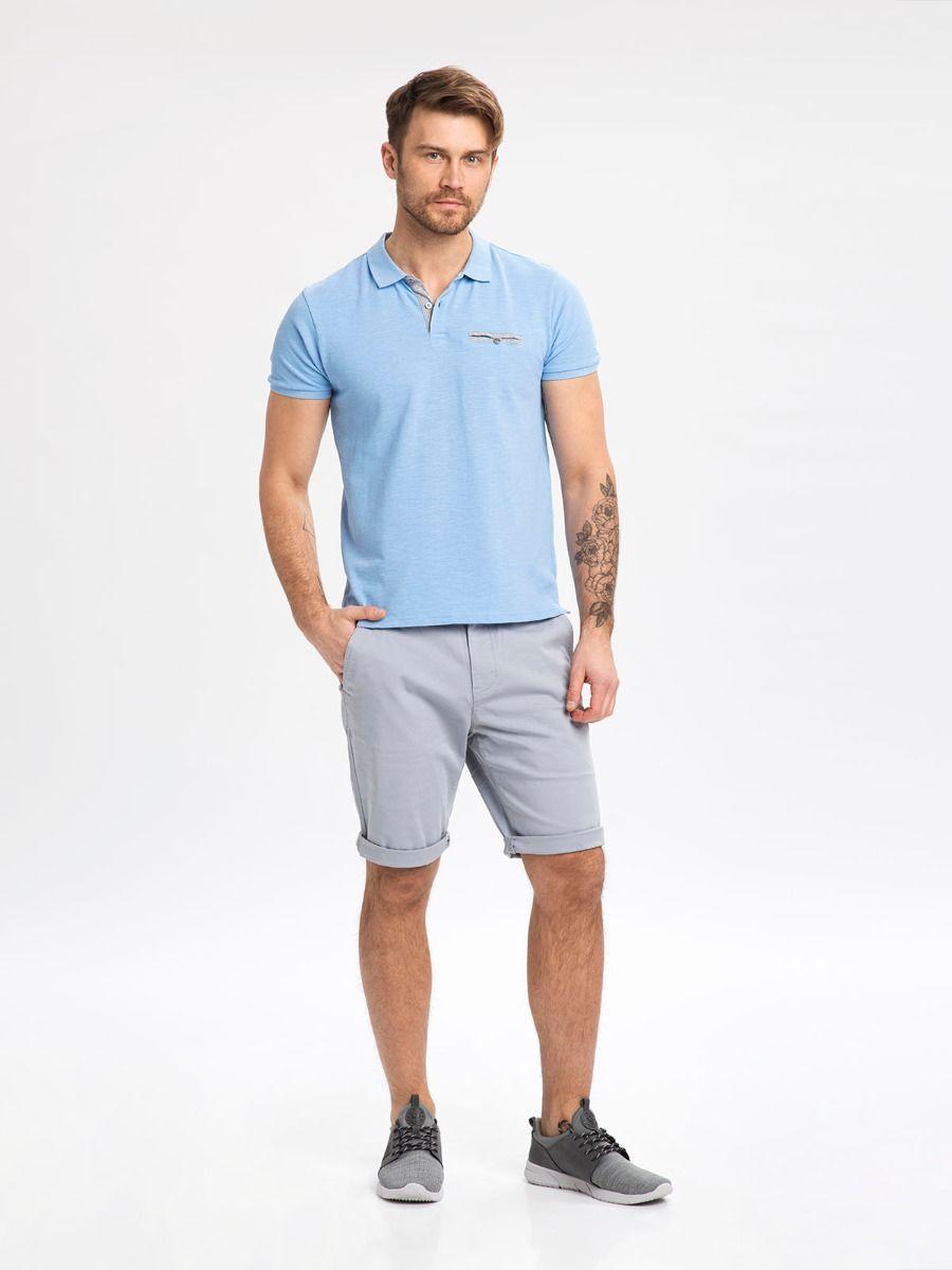 Рубашка поло из хлопка синего цвета с карманом T - OSCAR pique
