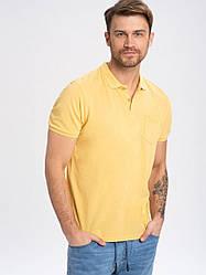 Простая желтая рубашка поло с карманом из хлопка T - VOLT