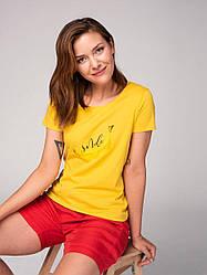 Хлопковая футболка с цветным принтом T - BASMIL