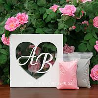 """Набор для свадебной песочной церемонии: Рамка """"Сердце с инициалами"""" + песок (цвет белый), фото 1"""