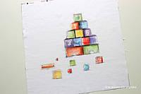 Панелька сатин Кубики 40*40, фото 1