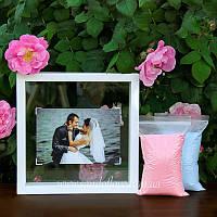 Набор для свадебной песочной церемонии: Рамка под фото + песок (белая), фото 1