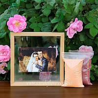 Набір для весільної пісочної церемонії: Рамка під фото + пісок (світле дерево)