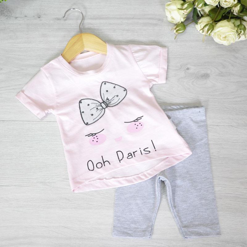 Летний детский костюм (футболка и бриджи), трикотаж, для девочек 6-12-18 мес. (3 шт. в уп.)