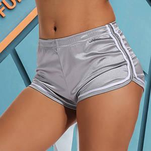 Женские шорты атласные с высокой посадкой серебристые