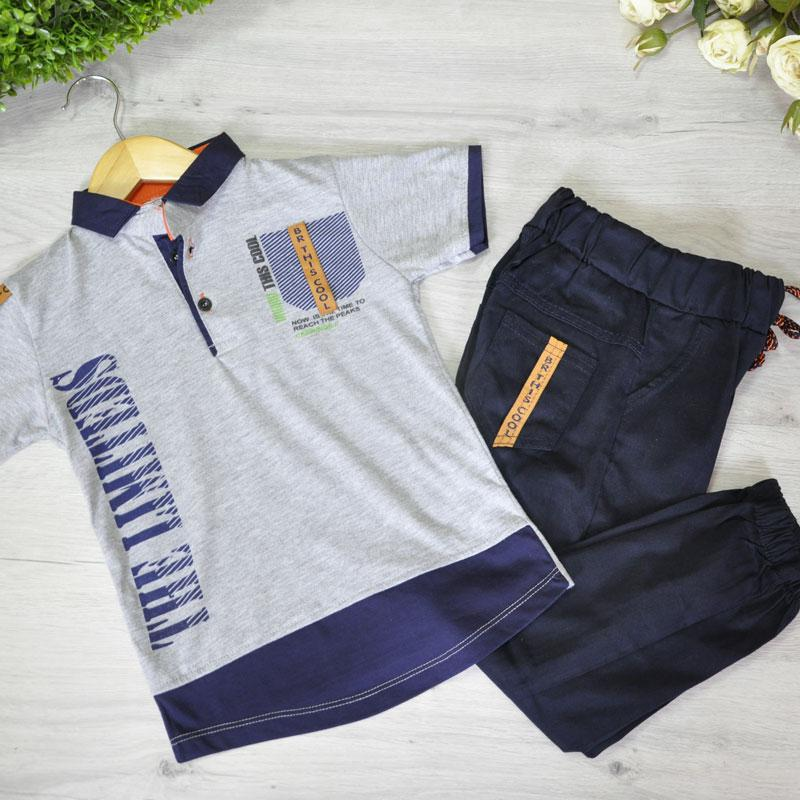 Летний легкий костюм (футболка поло и брюки), для мальчика 1-4 года (4 шт. в уп.)