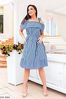 Женское платье в полоску  с воланом на груди, фото 1
