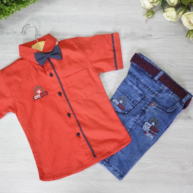 Летний легкий костюм (рубашка с бабочкой, бриджи с поясом), для мальчика 2-5 лет (4 шт. в уп.)