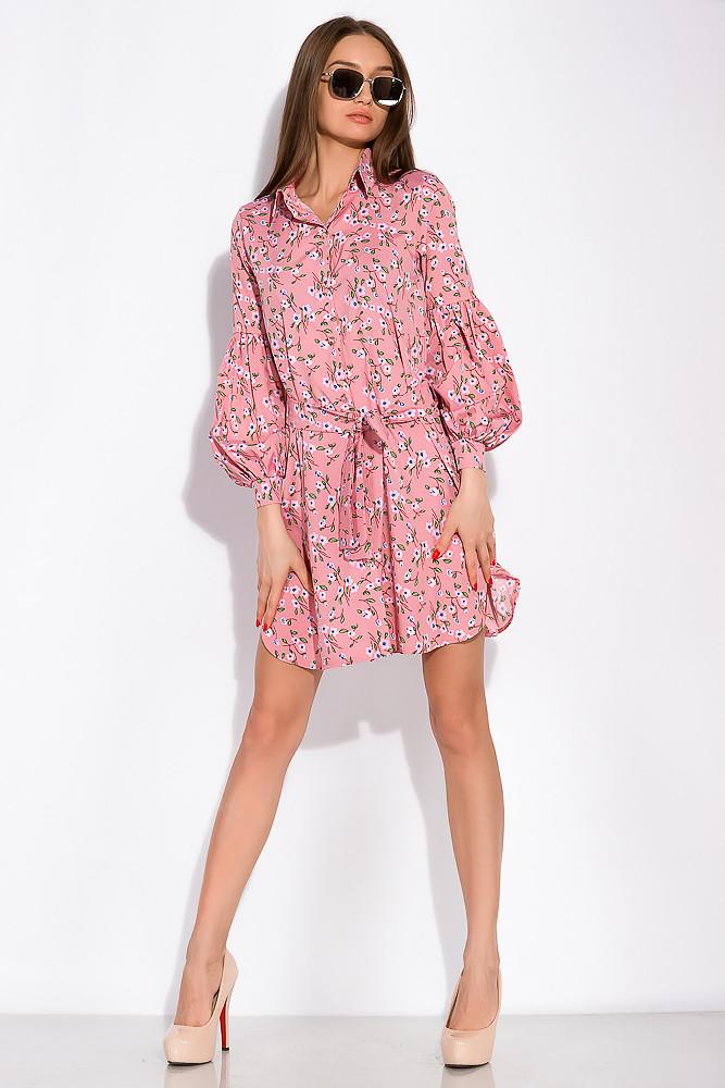 Платье с нежным цветочным принтом 103P492-1 (Пудровый принт)