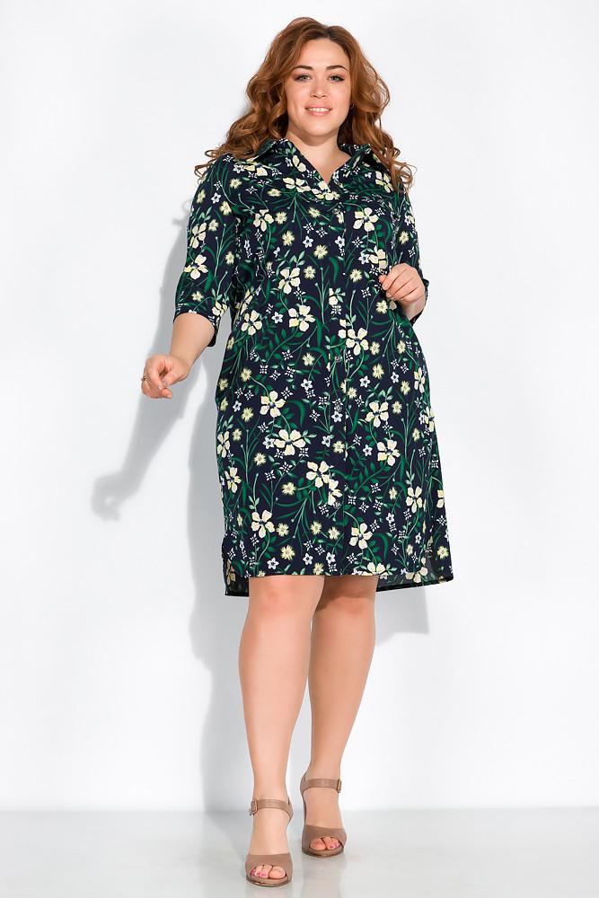 Платье-рубашка с цветочными мотивами 103P482 (Темно-синий принт)