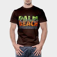 Мужская футболка коричневого цвета бесшовная 100% хлопок, с надписью (салатово-оранжевая), размер L