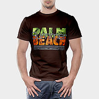 Мужская футболка коричневого цвета бесшовная 100% хлопок, с надписью (салатово-оранжевая), размер XL